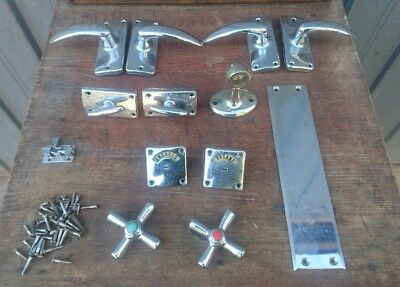 Assorted Vintage Art Deco House/bathroom Fittings/hardware-Handles Etc