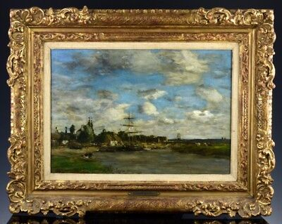 EXCEPTIONAL c1876 THE WHARF FRENCH OIL ON CANVAS SIGNED EUGENE BOUDIN