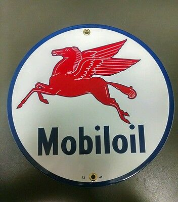MOBILOIL Gas Oil Porcelain advertising Sign ~9""