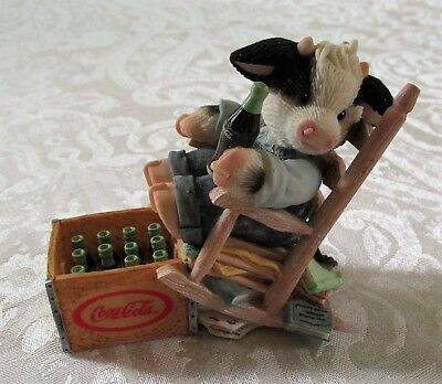 """Mary's Moo Moos Coca Cola """"Sit Long, Laugh Often, Drink Coke"""" Figure in Box"""