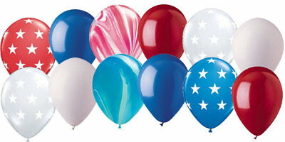 "12 pc 11"" Patriotic Red White Blue Agate 4th July Latex Balloon Party Decoration"