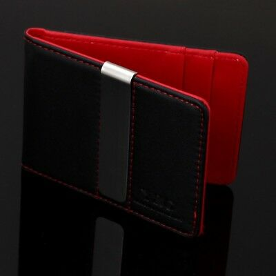 Slim Minimalist Wallet Men Money Clip Credit Card Holder Black Red Front Pocket