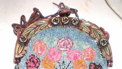 Beaded Purse  Roses 1920s Matching Roses Celluloid Frame Lovely Beading