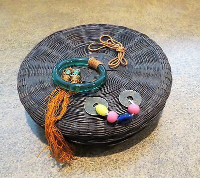 Antique Chinese Sewing Basket Peking Glass Beads Bone Tassels Coin Decoration 7""