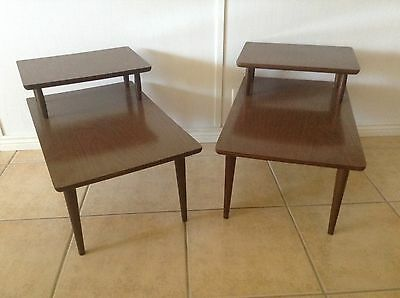 Mid Century End Tables Side 2 Tier Atomic PAIR Excellent Condition