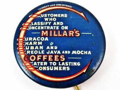 Vintage Millar's Coffee Classify & Concentrate Advertising Celluloid Pin Button