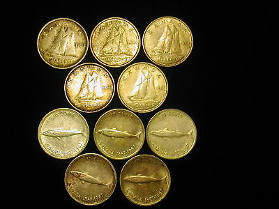 1953 1960 1961 1962 1965 1967 Canada Silver Ten Cent Coin Collection 10 Pc Lot