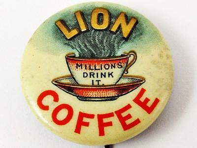 """Vintage Lion Coffee """"millions Drink It"""" Advertising Celluloid Pin Button"""