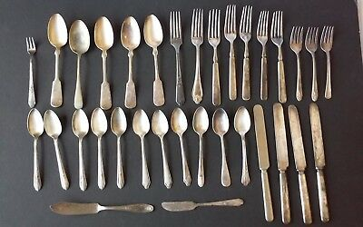 Vintage Silver Plate flatware  Mixed Lot 34 pieces