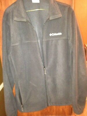 COLUMBIA Men's Solid Black/Grey  Fleece Zip Up Lightweight Jacket Size M