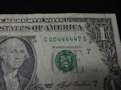 U S $1 Dollar Bill Note; Great Serial Number for Liars Poker