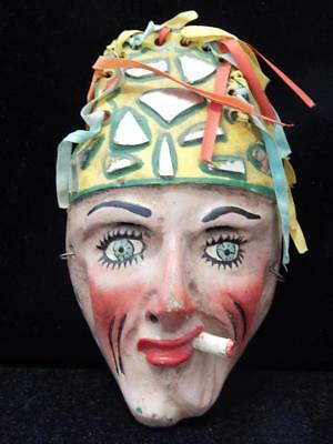 Wood Mirror Leather Vintage Antique Mexican Mexico Wood Dance Mask Old Rare Styl
