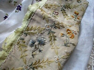 Antique Victorian French Hdmd Embroidery Intricate Wool Flower Silk Fabric Pc