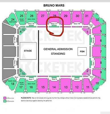 SOLD OUT!  VIP Bruno Mars Adelaide Hot Seat Ticket Amazing Seat!! I Paid $415