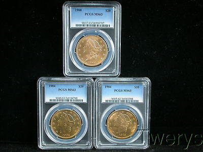Lot Of 3 Pieces 2 Different Dates Liberty Head Gold $20 Double Eagles Pcgs Ms 63