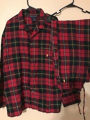 NWOT POLO by RALPH LAUREN Men's Flannel Plaid Pajama Pants Shirt Set Size Large