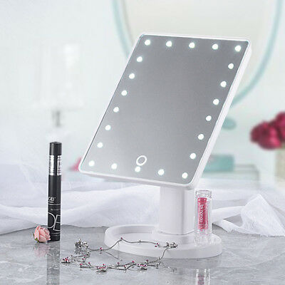 22 LED Touch Screen Women Makeup Mirror Light Up Night Cosmetic Vanity Tabletop