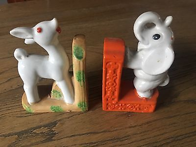Vintage Porcelain Deer & Elephant Bookends