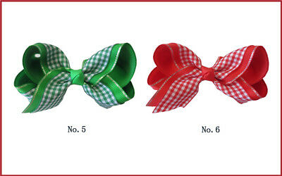 """50 BLESSING Good Girl Hair Accessories 4"""" Ginghams 2 Tone Double ABC Bow Clip"""