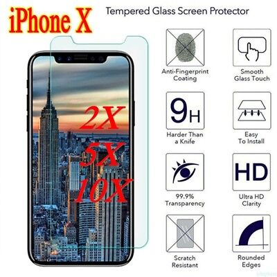 lot 10X Premium Tempered Glass Screen Protector Film For Apple iPhone X Hot