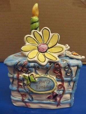 Heather Goldminc Blue Sky Clayworks Happy Birthday Cake Tea Light Candle Holder