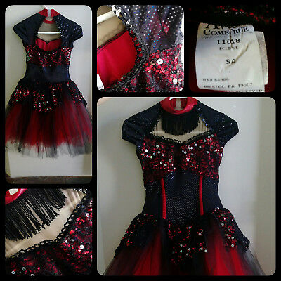 dance costume size SA red/black bustier style leotard - red/black tulle skirts