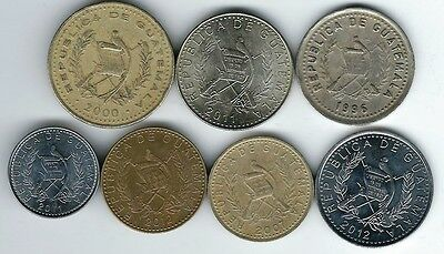 7 different world coins from GUATAMALA