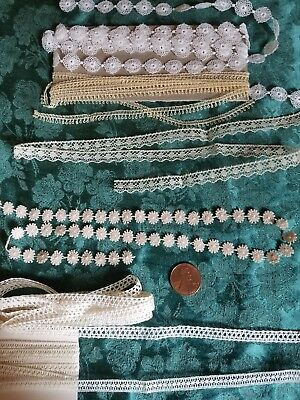 lot of 6 Tiny thin vintage Picoted Trims lace  edging Antique  dolls 8+ yards