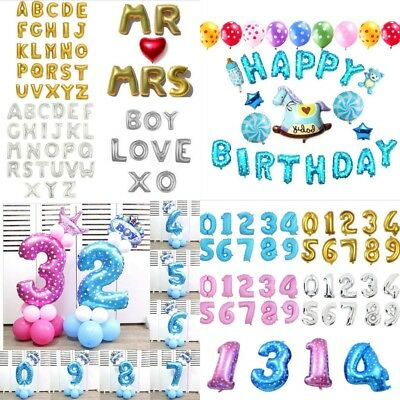 "16""32"""" Foil Number A-Z Balloons Helium Large Baloons Happy Birthday Party Gifts"