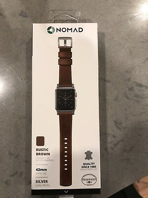 NOMAD Horween Genuine Leather Strap band, Apple Watch 42mm Rustic Brown & Silver