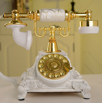 White Antique Rotary Phone Old Fashioned Telephone Princess French Style Vintage
