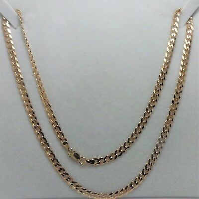 9Ct Yellow Gold Flat Curb Link Chain Necklace - 9.09 Grams - 50 Cm