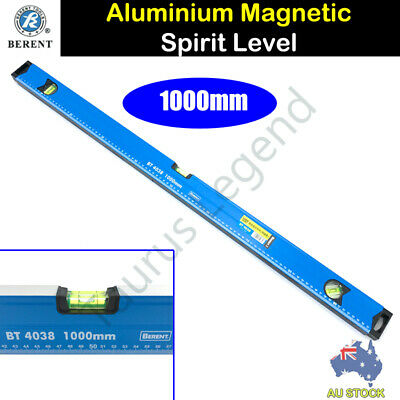 Berent Aluminium 1m 1000mm Spirit Level with Magnetic Base Graduated Ruler