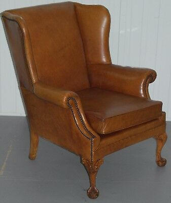 Vintage Aged Tan Brown Leather Claw And Ball Feet Wingback Armchair Chesterfield
