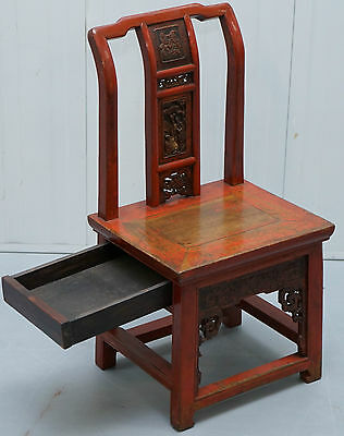 Antique Red Lacquered Chinese Wedding Chair Of Small Proportions Hidden Drawer