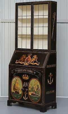 Museum Quality Victorian Hand Painted Royal Navy Chatham Writing Bureau Must See