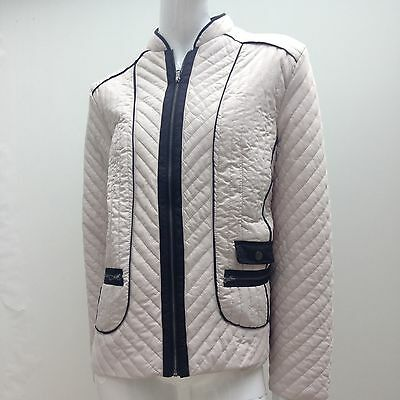 Noni B sz L Beige & Black Quilted Casual Jacket AS NEW