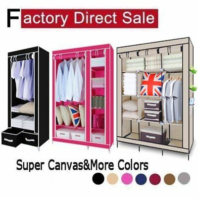 Multiple colors Single Double Triple Canvas Wardrobe With Hanging Rail storage