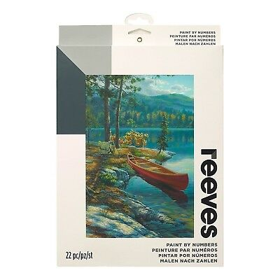 Reeves Medium Time Well Spent Canoe River Painting By Numbers Set Paint & Brush