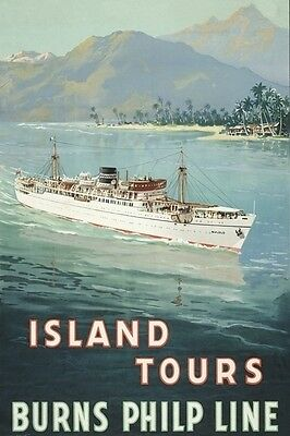 BULOLO Burns-Philp Australian Liner Allcot Art 2 set modern digital Postcard