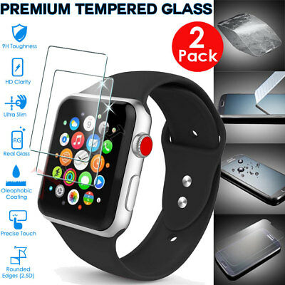 2x Genuine TEMPERED GLASS Screen Protector For iWatch Apple Watch 38mm Series 3