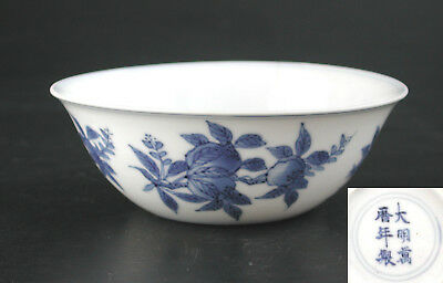 Chinese Blue & White Porcelain Bowl with Ming Wan Li Mark