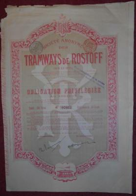 30889 RUSSIA 1899 Tramways of Rostoff(Sur le Don) 500 Franc Bond with coupons