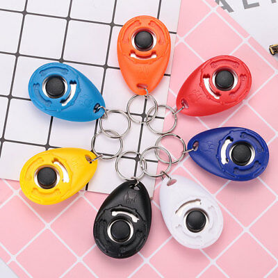 Pet Dog Training Clicker Trainer Teaching Tool Multi Color With Keychain Tool