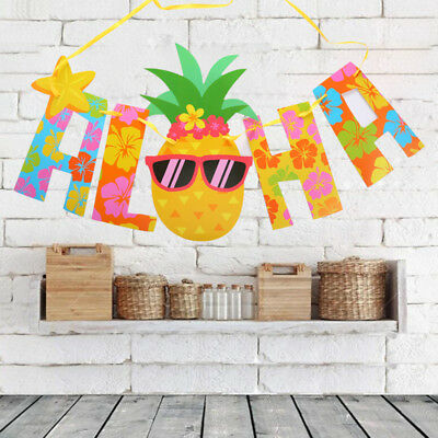 Hawaii Party Pennant Glitter Gold Letter Pineapple Hanging Banners Luau Decor