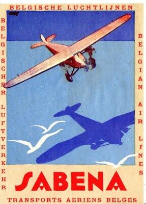 Sabena Airline Belgium Baggage Label Sticker Early 1930's