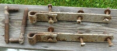 "Heavy Antique Hand-Forged Strap Hinges W/ Pintles 12-1/2""L  1-1/2"" W  1/4"" Thick"