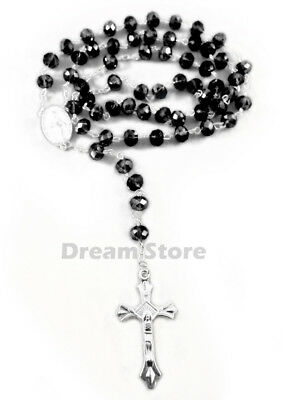 BLACK Glass Religious ROSARY Necklace With Crucifix in Clear Gift Box