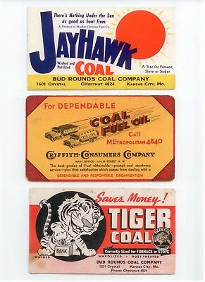 3 Vintage Coal Ink Blotters, Jayhawk, Tiger Coal