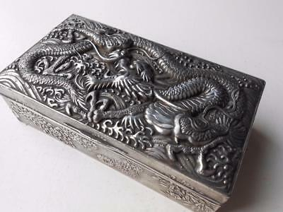 Lovely Antique Silver Plated Chinese Cantonese Dragon Box Quality Heavy